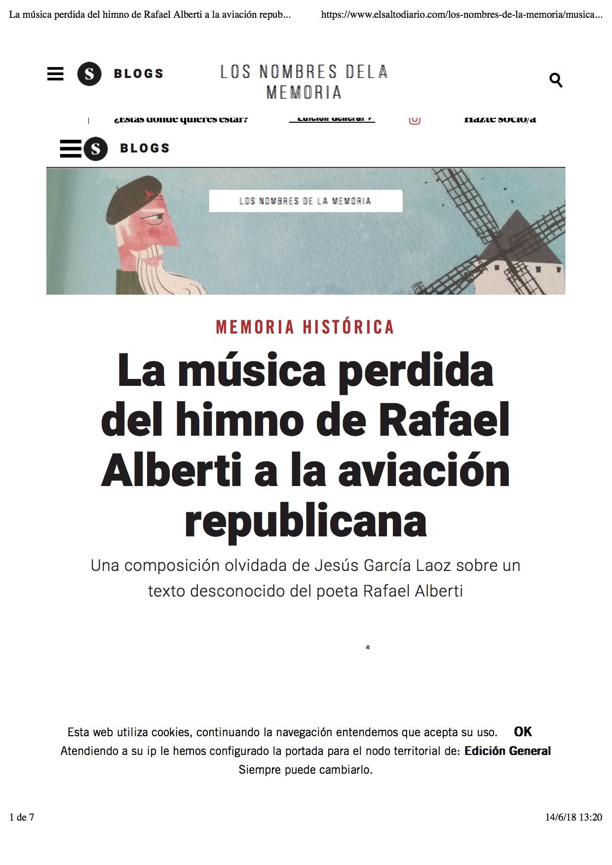 ef0bdbdb55 La música perdida del himno de Rafael Alberti a la aviación republicana –  Edición General – El Salto